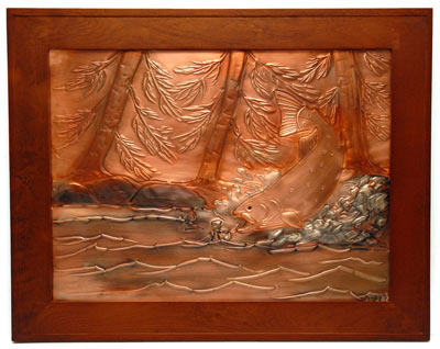Hentzi Framed Copper Rainbow Trout Art