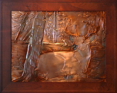 Copper Wall Art art above fireplace - hentzi framed copper resting stag