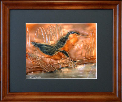 Hentzi Framed Copper Wading Birds Art