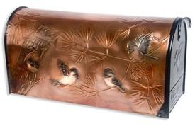 Hentzi Rural Copper Mailbox Chickadee Family