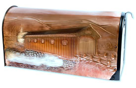 Hentzi Rural Copper Mailbox Covered Bridge