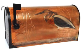 Hentzi Rural Copper Mailbox Peaceful Heron