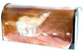 Hentzi Rural Copper Mailbox Yellowstone Wolf