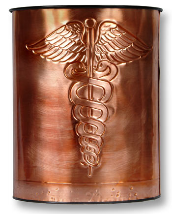 Hentzi Caduceus Copper Waste Basket