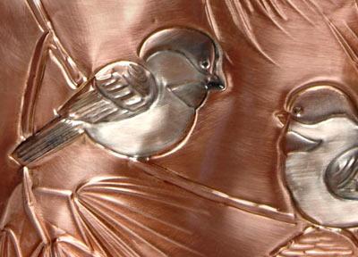 Chickadees Waste Basket Close Up