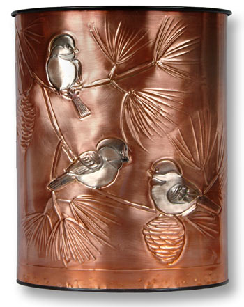 Hentzi Classic Chickadees Copper Waste Basket