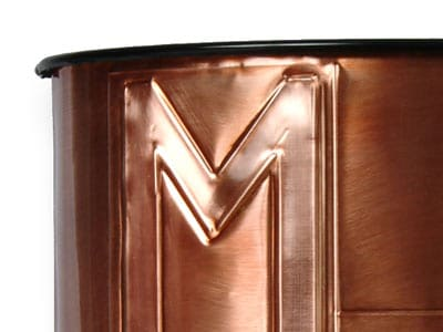 Craftsman Monogram Waste Basket Close Up