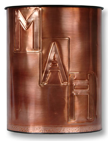 Hentzi Craftsman Monogram Copper Waste Basket