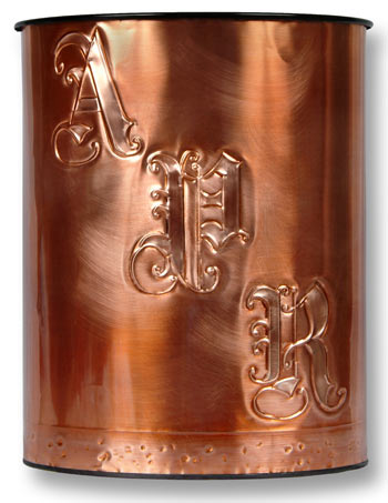 Hentzi Victorian Monogram Copper Waste Basket