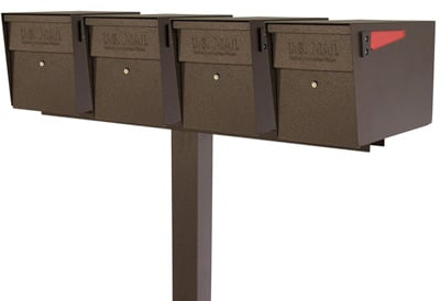 Mail Boss Locking Mailboxes Quad Post