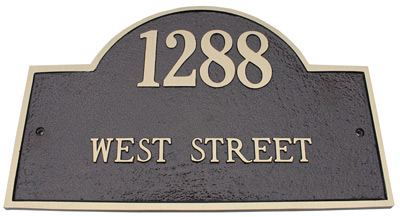 Majestic Brass Arch Marker Address Plaques