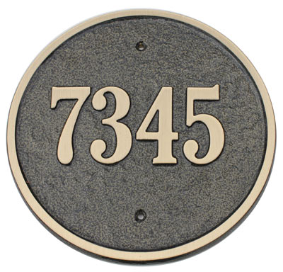 Majestic Solid Brass Circle Address Plaques