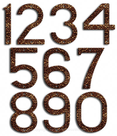 Large Copper Vein House Numbers Majestic 10