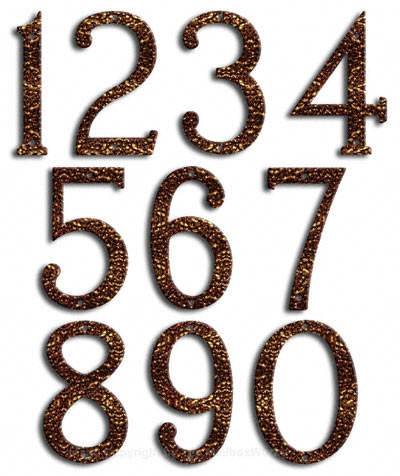 Medium Copper Vein House Numbers Majestic
