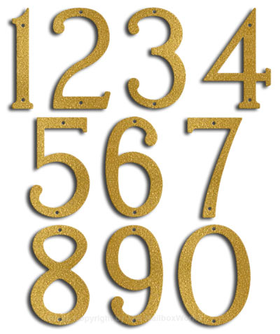 Medium Gold House Numbers Majestic 8
