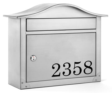 Peninsula Wall Mount Mailbox Front Lettering