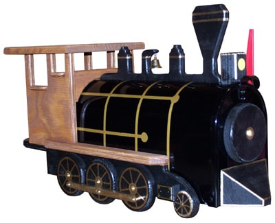 Natural Train Engine Novelty Mailbox