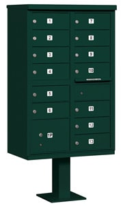 Salsbury 13 Door CBU Mailbox Green