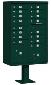 Salsbury 16 Door CBU Mailbox Green