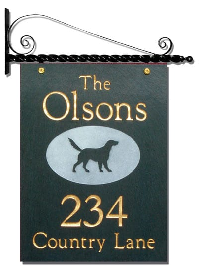 Stone Mill Hanging Slate Address Plaque