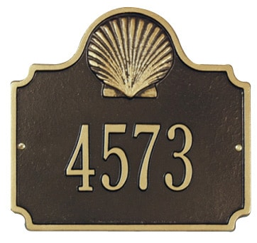 Whitehall Conch Address Plaque One Line