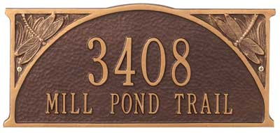 Whitehall Dragonfly Address Plaque Two Lines