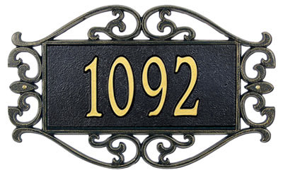 Whitehall Lewis Fretwork Address Plaque