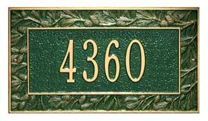 Whitehall Pinecone Address Plaque One Line