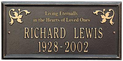 Whitehall Wilmington Living Eternally Memorial Plaque