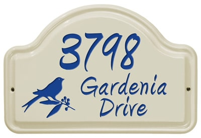 Whitehall Bird Arch Ceramic Address Plaque