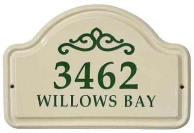 Whitehall Scroll Arch Ceramic Address Plaque