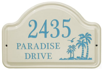Whitehall Palm Arch Ceramic Address Plaque