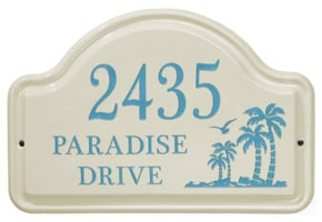 Whitehall Palm Arch Plaque Sea Blue