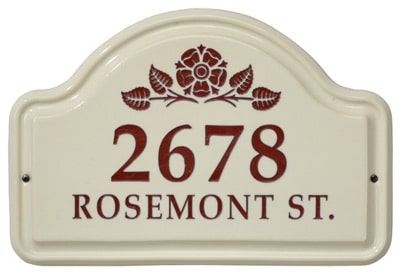 Whitehall Rosette Arch Ceramic Address Plaque