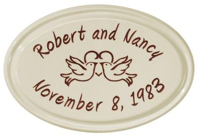 Anniversary Heart Birds Oval Ceramic Plaque