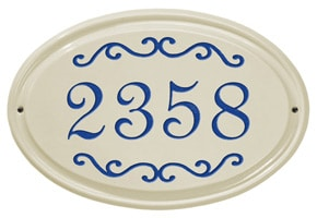Whitehall Classic Scroll Oval Plaque Blue