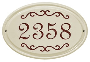 Whitehall Classic Scroll Oval Plaque Red