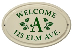 Whitehall Leaf Monogram Oval Plaque Green