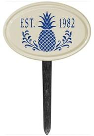 Pineapple Petite Oval Lawn Marker Blue