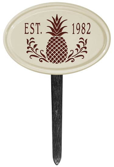 Pineapple Petite Oval Ceramic Lawn Marker