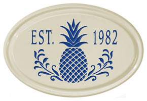 Whitehall Pineapple Petite Oval Plaque Blue