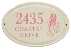 Whitehall Seahorse Oval Plaque Coral