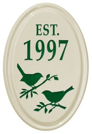 Whitehall Bird Silhouette Vertical Oval Green