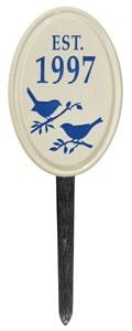 Bird Silhouette Vertical Oval Lawn Blue
