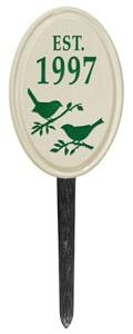 Bird Silhouette Vertical Oval Lawn Green