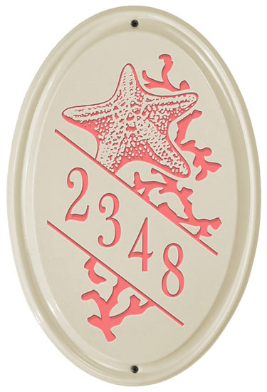 Whitehall Starfish Vertical Oval Ceramic Plaque