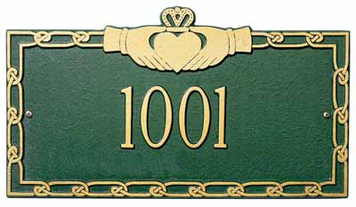 Whitehall Claddagh Address Plaque One Line