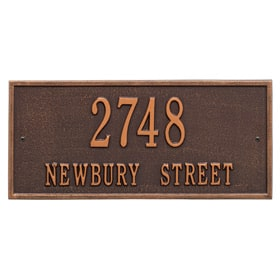 Whitehall Hartford Address Plaque Antique Copper