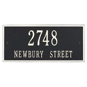 Whitehall Hartford Address Plaque Black White