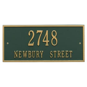 Whitehall Hartford Address Plaque Green Gold